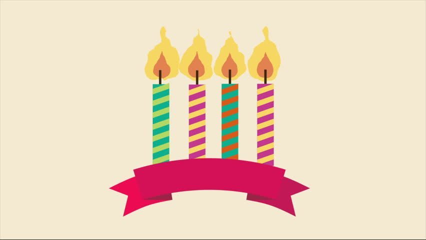 Birthday Candle With Ribbon Video Animation HD 1080