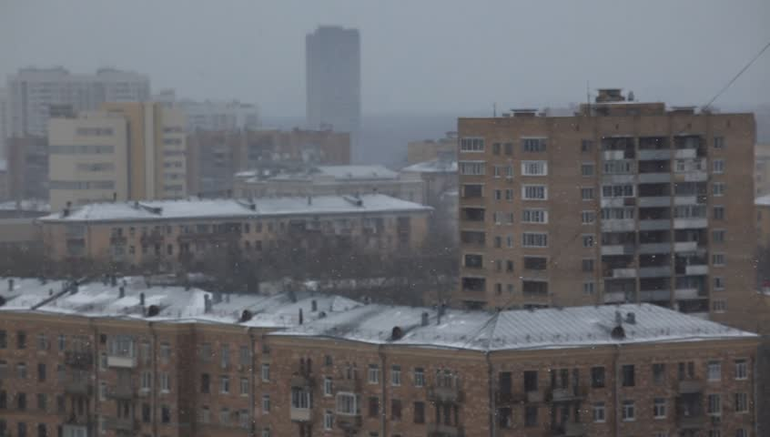apartments moscow russia. RUSSIA MOSCOW  2015 Residential house and falling snow HD stock video clip Apartments In Winter Moscow Russia Stock Footage Video 3493988