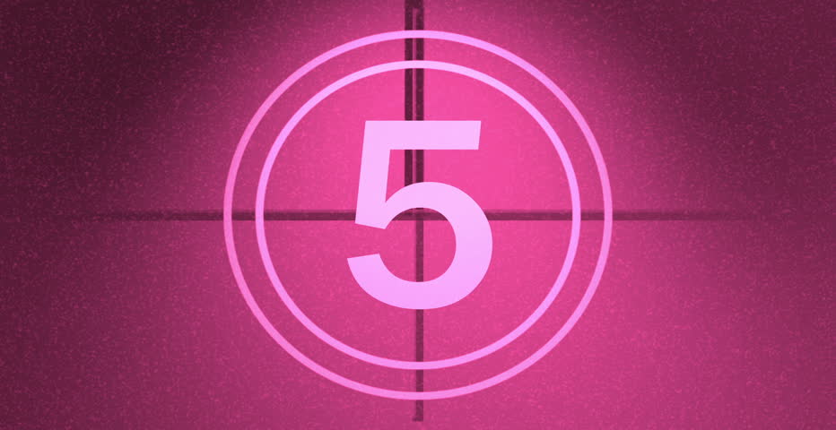 Film countdown leader on pink background