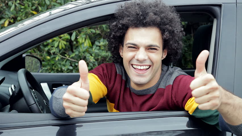Cool Handsome Happy Man Inside Car Showing Thumb Up Smiling   HD Stock  Video Clip