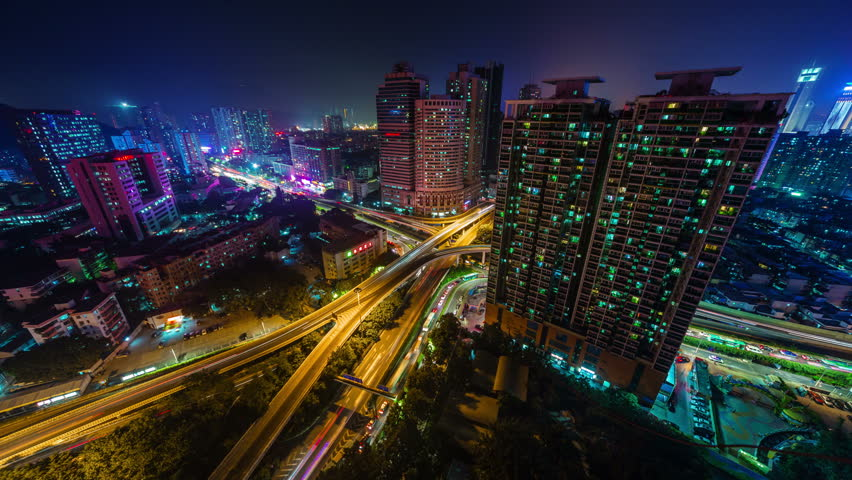 night light shenzhen city traffic crossroad roof panorama 4k time lapse china #9695129