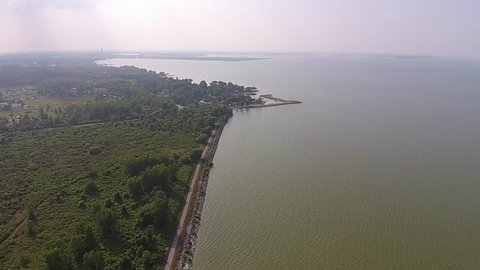 Lake Erie Algae Bloom High Aerial View