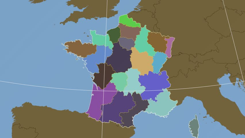 Provence Map Of France.Provence Alpes Cote Dazur Region Extruded On The Stock Footage