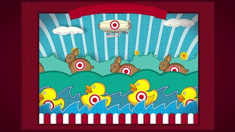 Shooting Gallery. Animated vintage shooting gallery with moving targets.