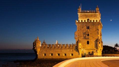 4K night timelapse of the Belem Tower in Lisbon - Portugal - UHD