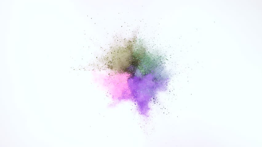 Powder exploding against white background. Shot with high speed camera, phantom flex 4K. Slow Motion. Unedited version is included at the end of clip. | Shutterstock HD Video #9761861