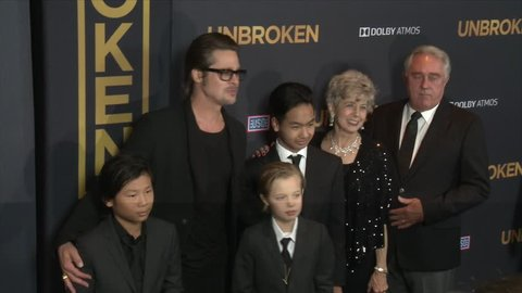 Hollywood, CA - December 15,2014: Brad Pitt and Pax Thien Jolie Pitt and Shiloh Jolie Pitt and Maddox Jolie Pitt and Jane Pitt and William Pitt at Unbroken Premiere, Dolby Theatre