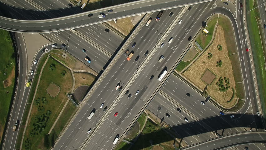 Aerial view of highway interchange in Moscow city, Russia | Shutterstock HD Video #9786182