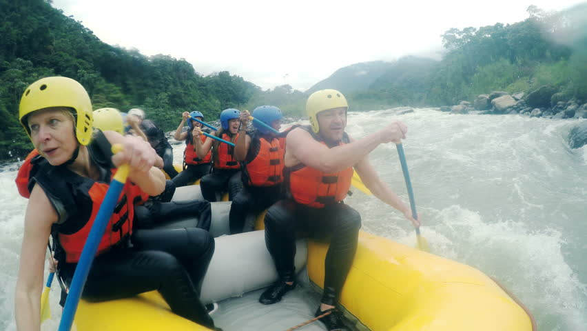Adult Caucasian Family Having Fun On White Water Rafting Trip, On Board Mounted Camera, Model Released High Quality Footage With Sound  | Shutterstock HD Video #9805889