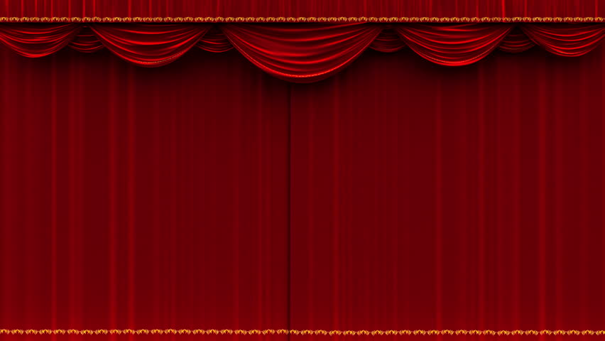 4K High Detail Red Velvet Theater Curtain Opening With Alpha Matte.   4K  Stock Footage