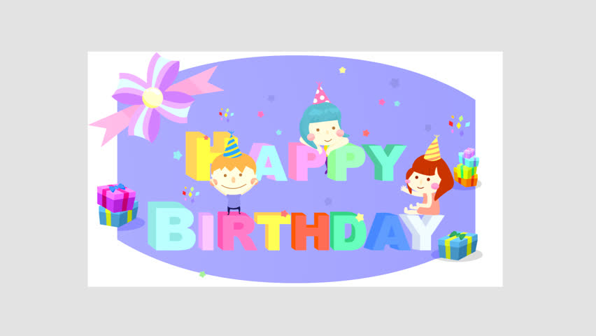 Cartoon Animation Of Hy Birthday Greeting E Card Template Fly In Folded Paper Effect Wiggling Three Dimensional Alphabet Symbol Texts Confetti And
