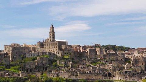 Panoramic view of Matera,basilicata, Italy. UNESCO European Capital of Culture 2019 under blue sky
