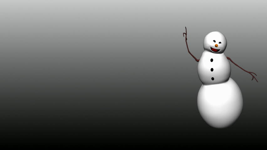 Isolated Snowman dance. Looping Animation. Alpha Matte