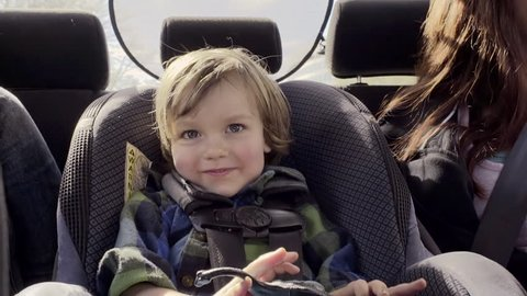 Little Boy Hides Behind His Toy Dinosaur And Smiles Happily In His Car Seat