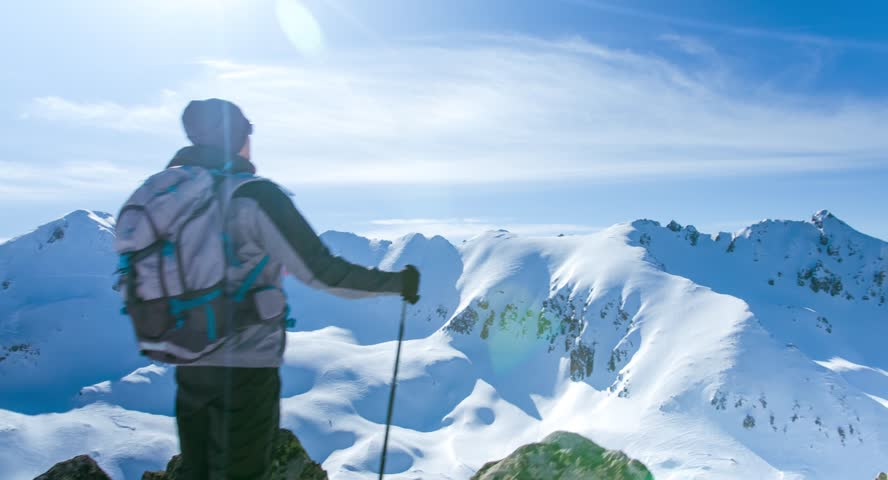 Snow Hiker Hiking Adventure Mountain Travel Outdoor Trekking Extreme Sport Cold Active Ice Winter Landscape Sky Backpacker Nature People Trek Mountaineering Hike Climbing High Summit Activity Climber | Shutterstock HD Video #9874556