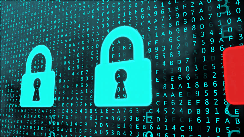Cloud Data Security concept with digital locks being cracked. Password/combination decoding process with matrix like background. Infinite Loop