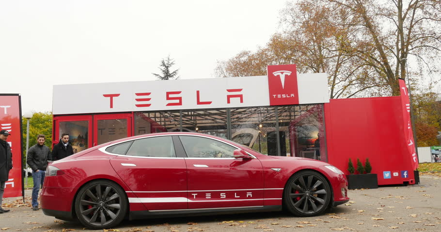 Paris France Circa Rising Up Of Luxury Tesla Model S