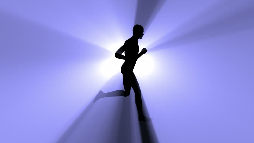 Loopable silhouette of a running man