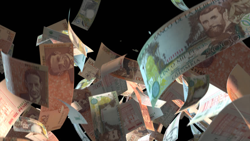 Falling Colombia money banknotes Video Effect simulates Falling Mixed Colombia Money banknotes with alpha channel (transparent background) in 4k resolution  | Shutterstock HD Video #9922139
