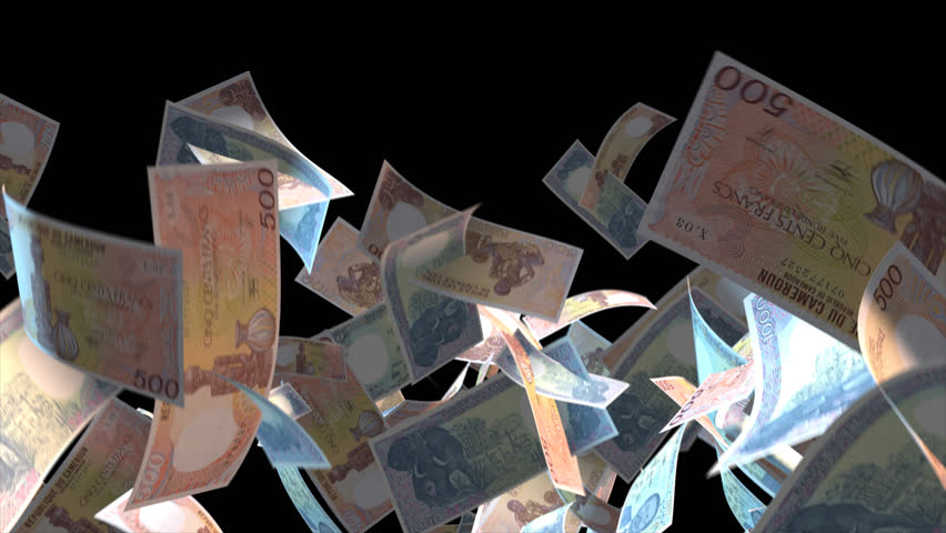 Falling Cameroon money banknotes