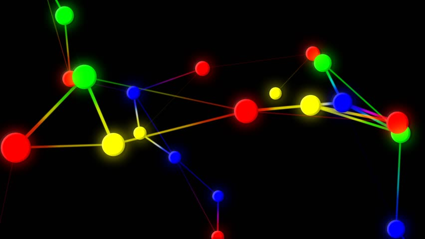 colorful lines and dots abstract motion black background