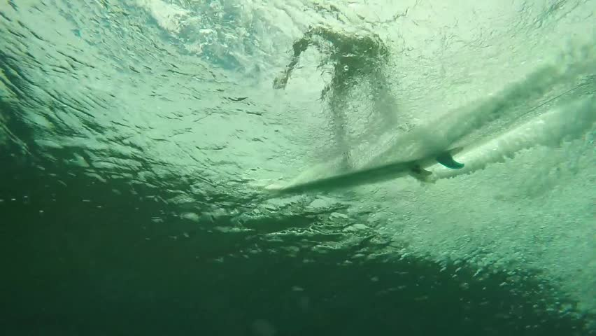 Underwater view of surfer riding wave and then jumping off to avoid wipe out