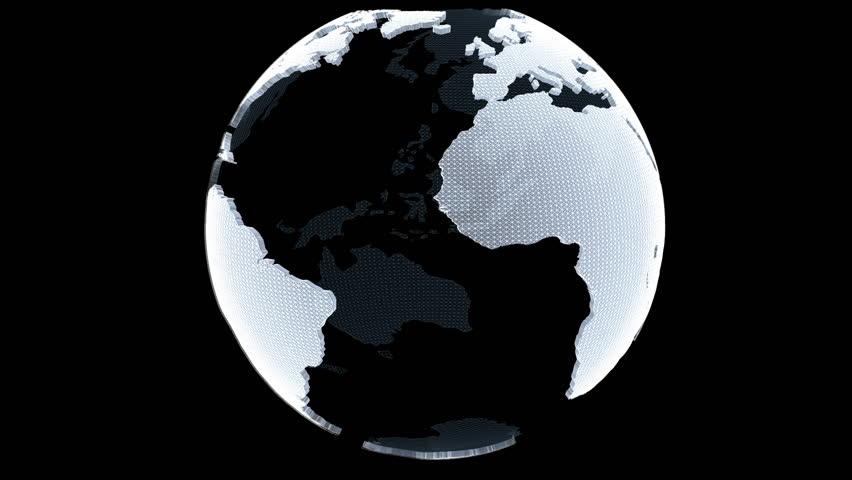 Three dimensional Globe loop rotation with luma matte    Shutterstock HD Video #9975689