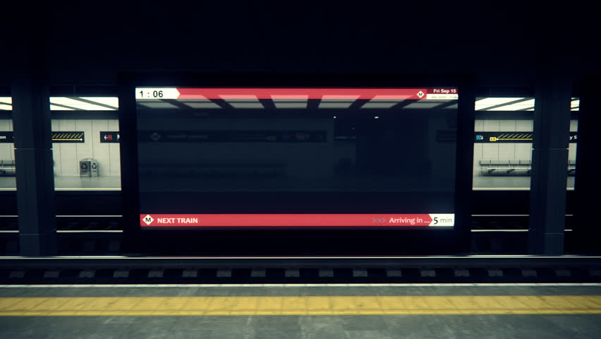 02254 Subway Train Arriving At Railroad Station.